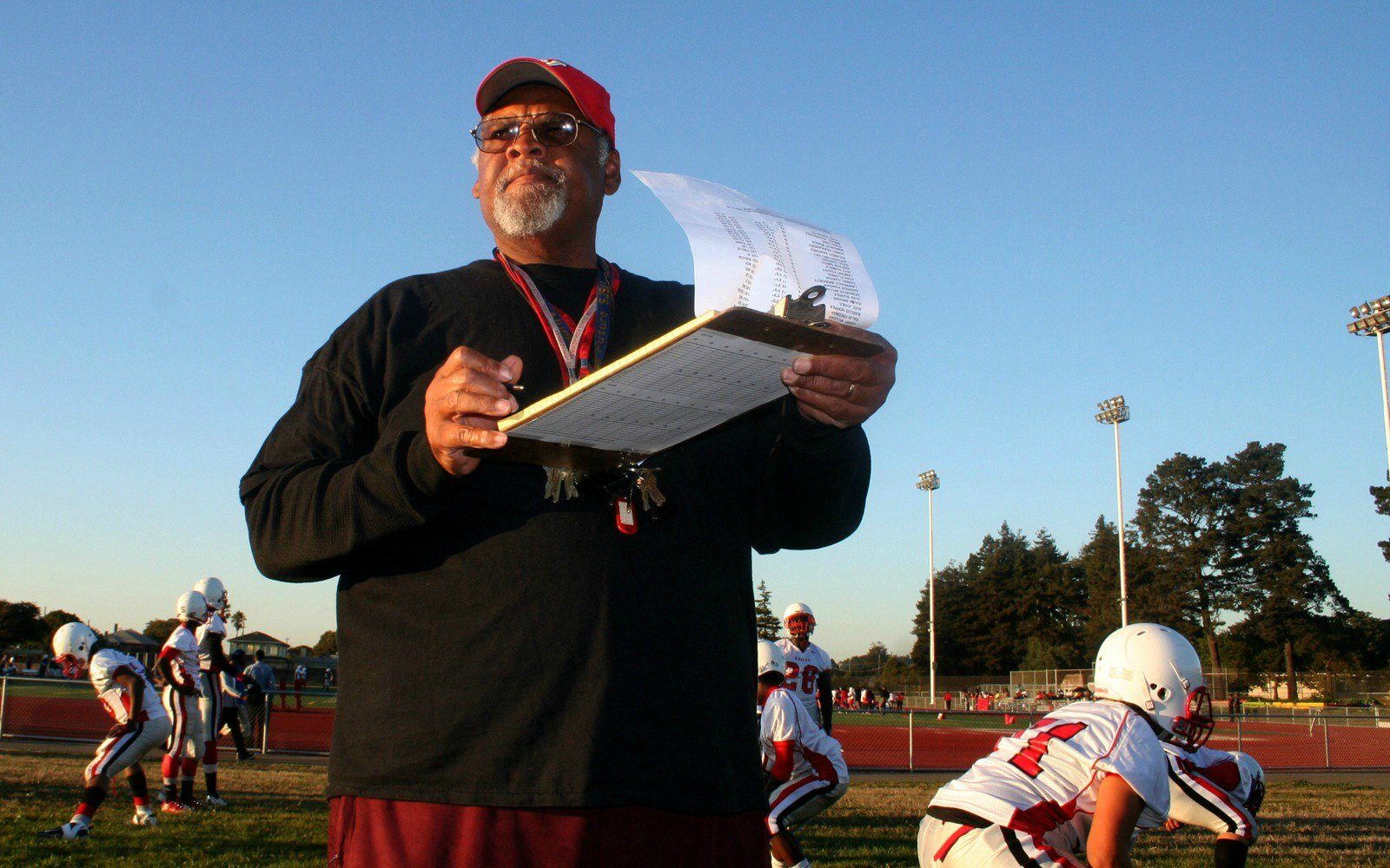 Football coach with his clipboard